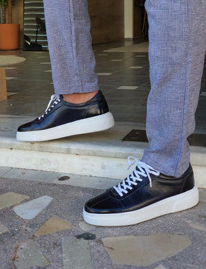 Patroni Navy Blue Mid-Top Sneakers