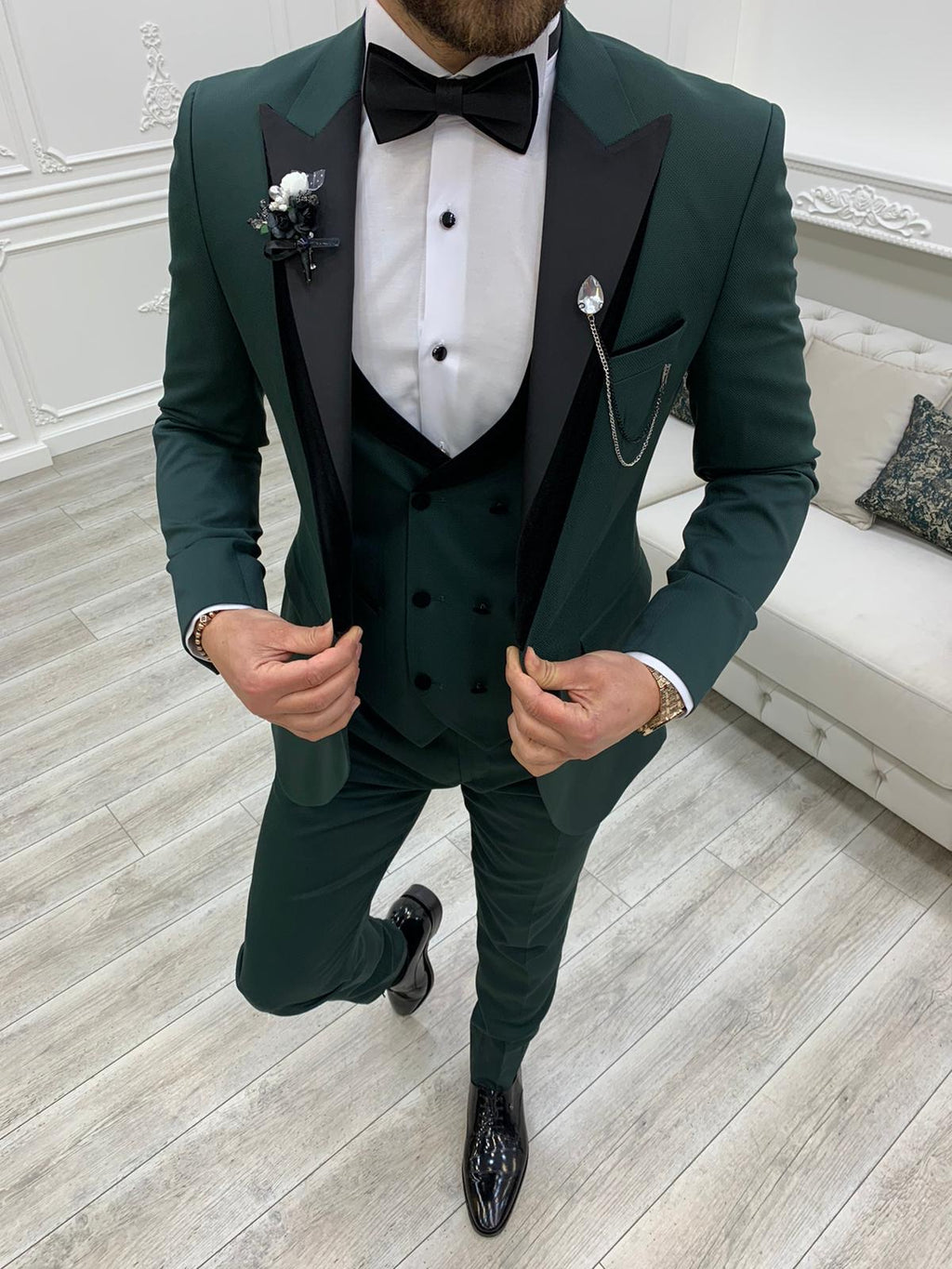 Partoni Royal Green Slim Fit Tuxedo