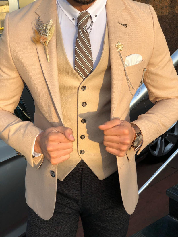 Multi Slim-Fit Suit Vest Beige