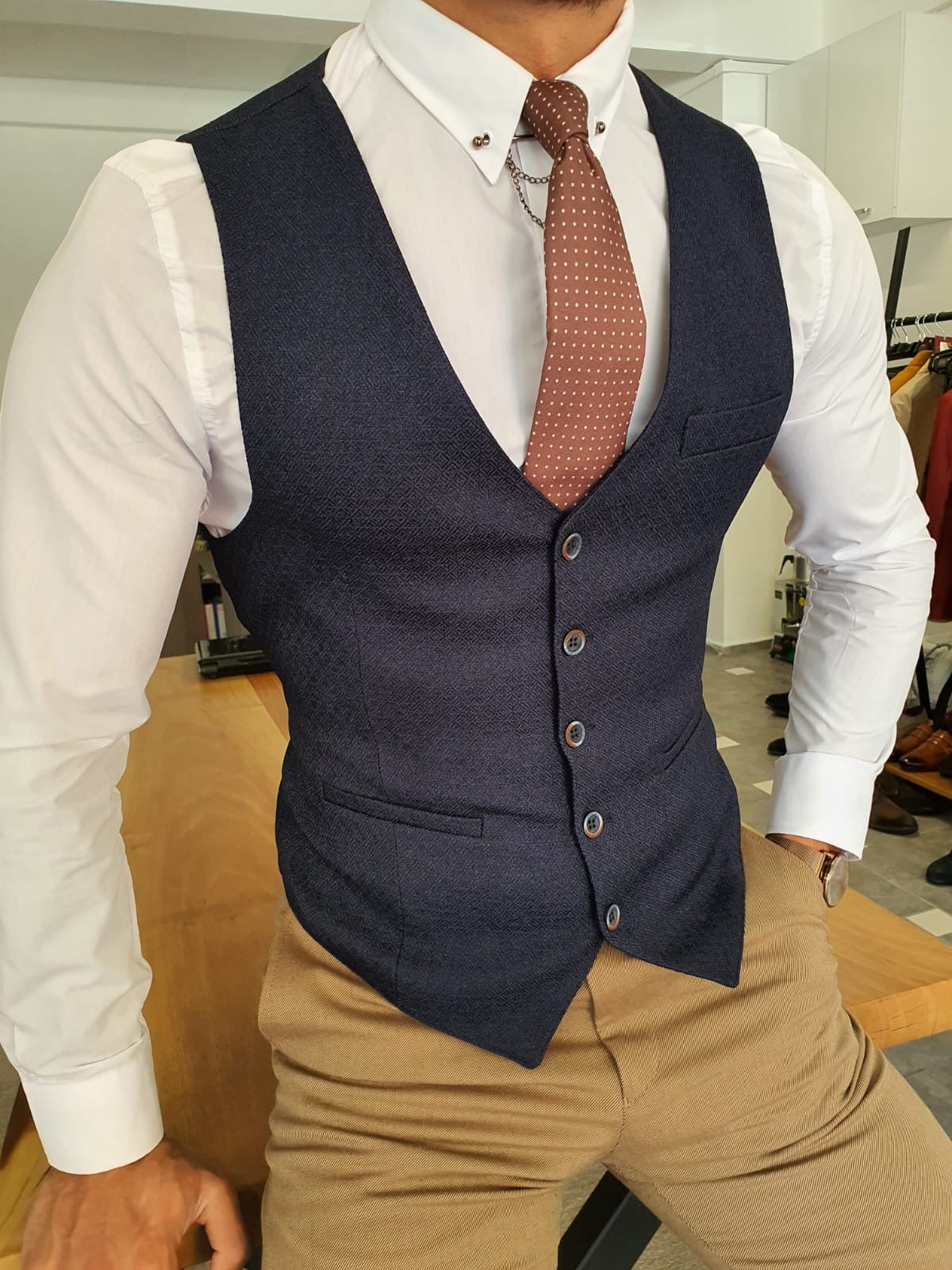 Severi Navy Blue Slim Fit Vest