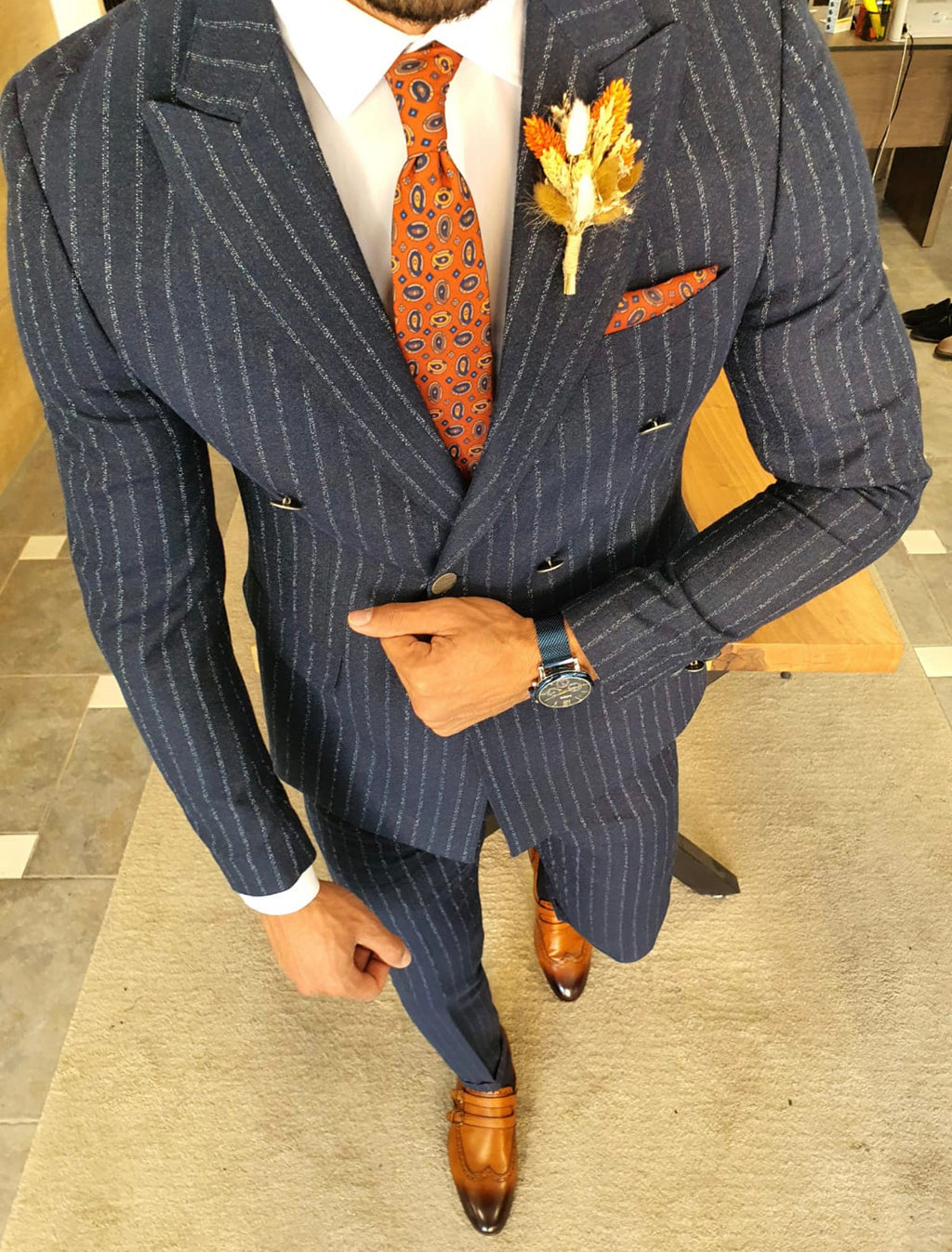 Genova Navy Blue Slim Fit Pinstripe Double Breasted Suit