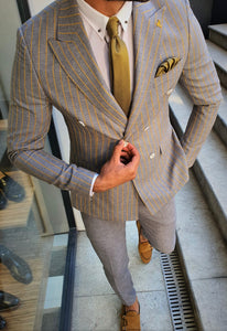 Bojoni Yellow Slim Fit Pinstripe Double Breasted Suit