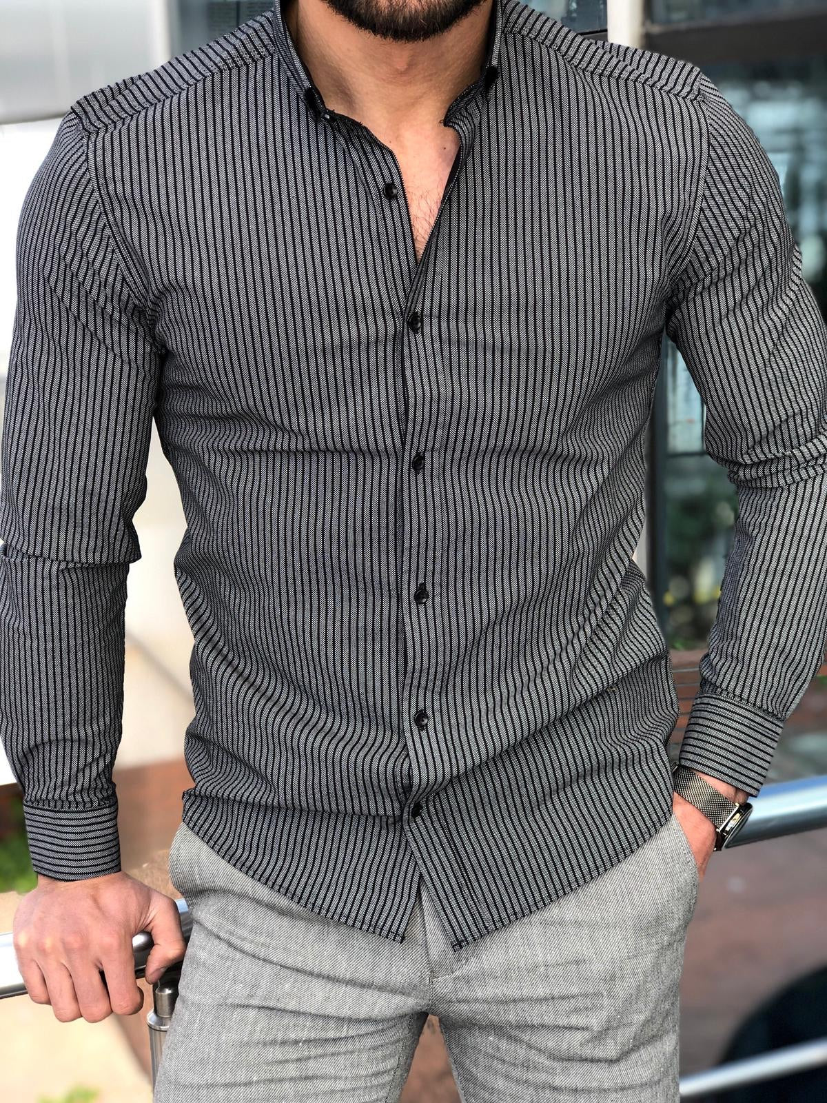 Slim-Fit Striped Shirt in Black
