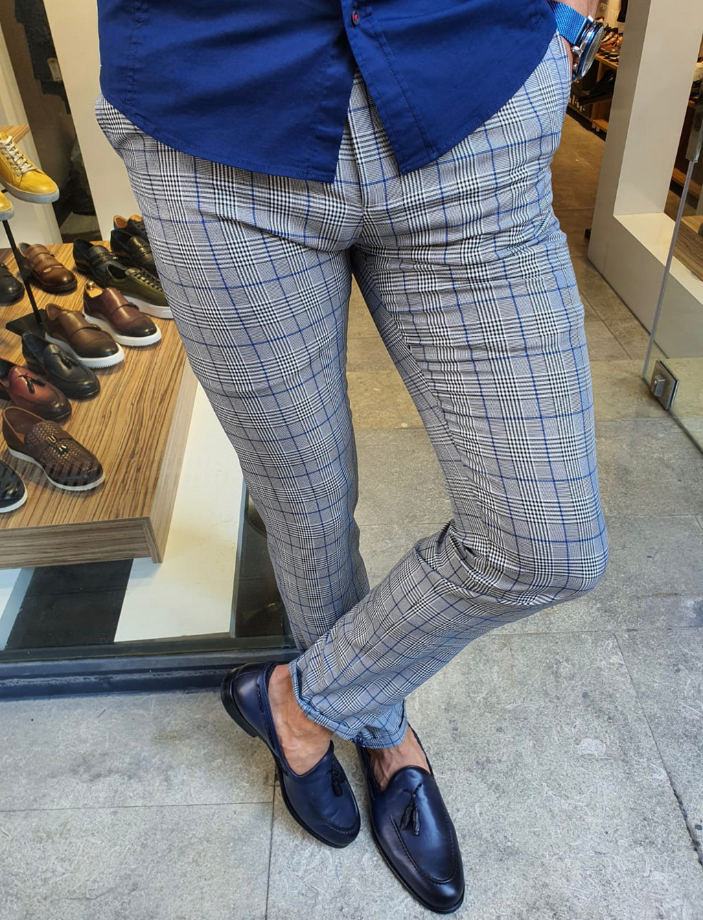 Sparks Sax Slim Fit Plaid Pants