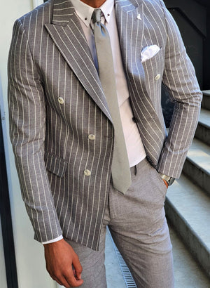 Bojoni White Slim Fit Pinstripe Double Breasted Suit