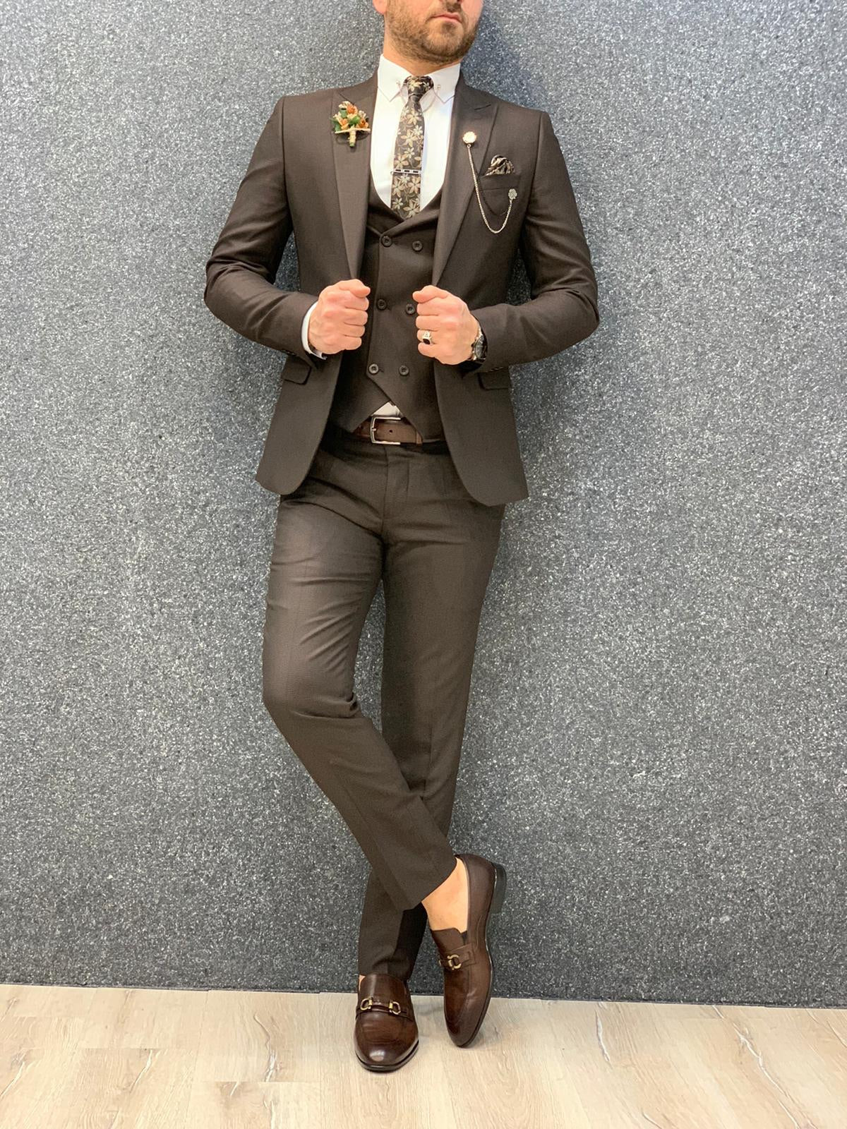 Olympia Brown Slim Fit  Suit