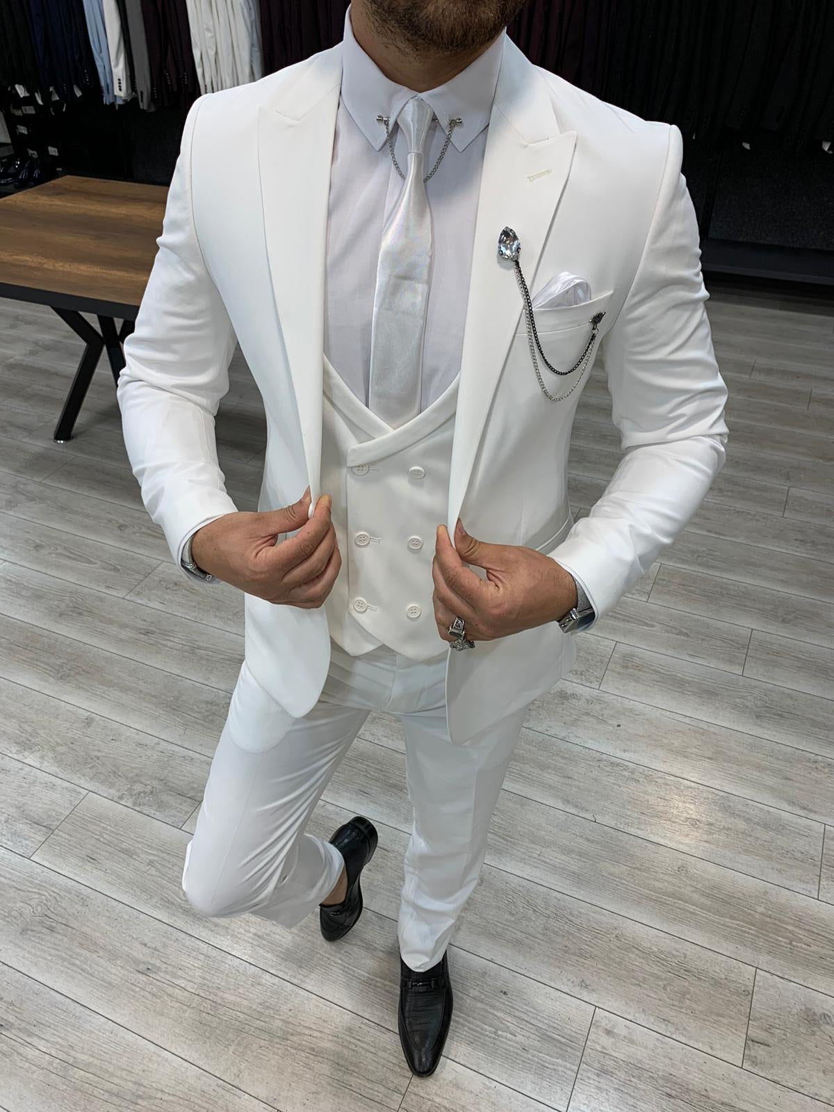Verona White Slim Fit Wool Suit