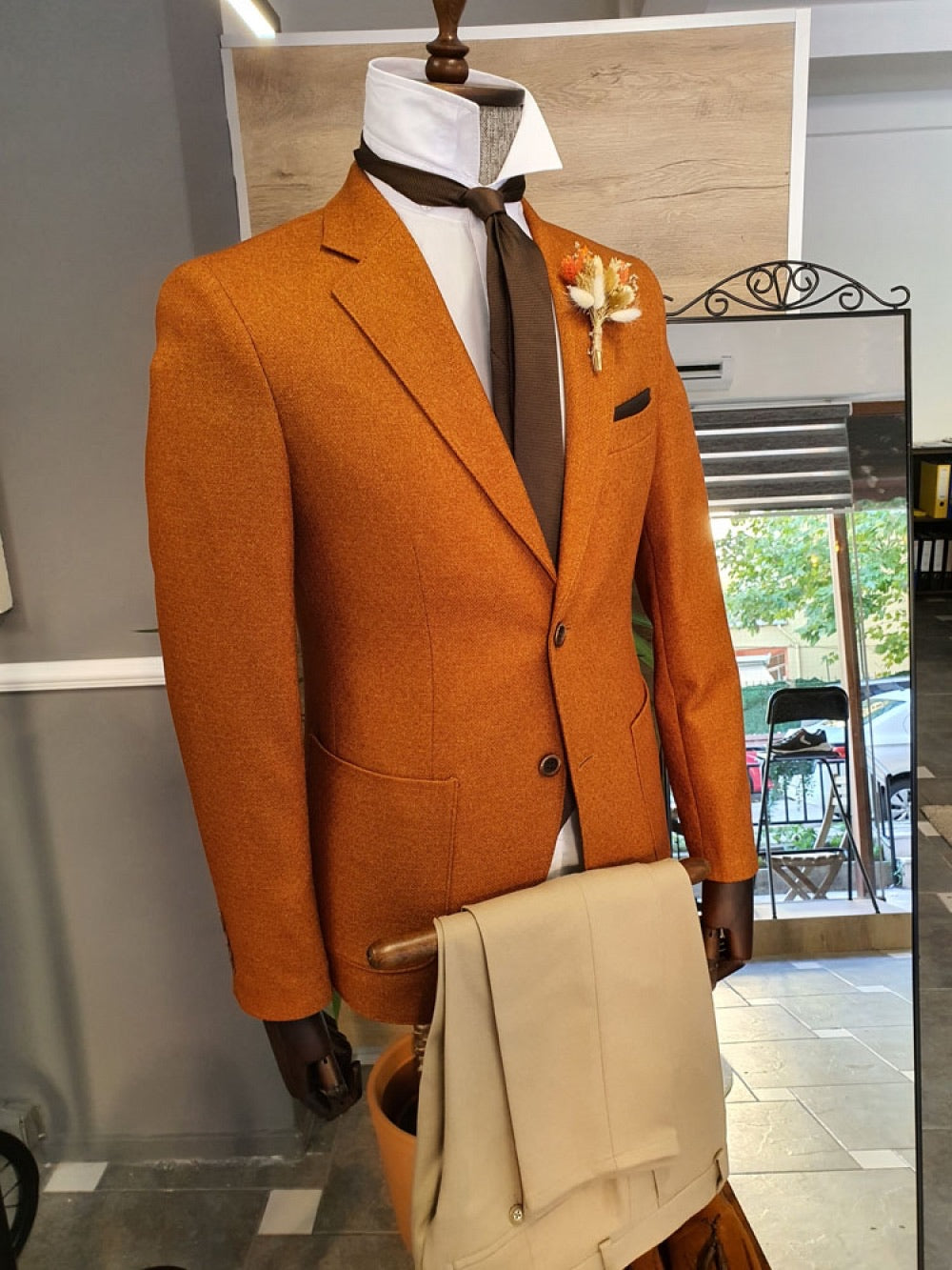 Fonzaso Camel Slim Fit Suit