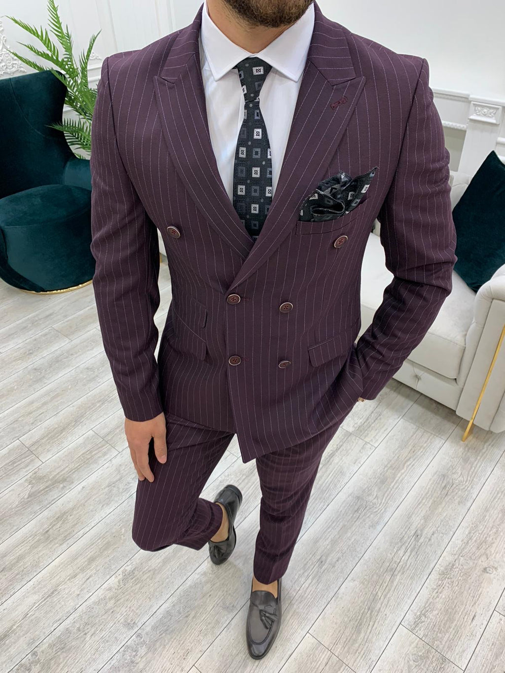 Furino Burgundy Slim Fit Double Breasted Pinstripe Suit