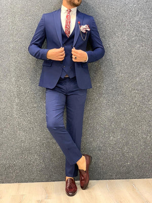 Kan Indigo Slim Fit Wool Suit
