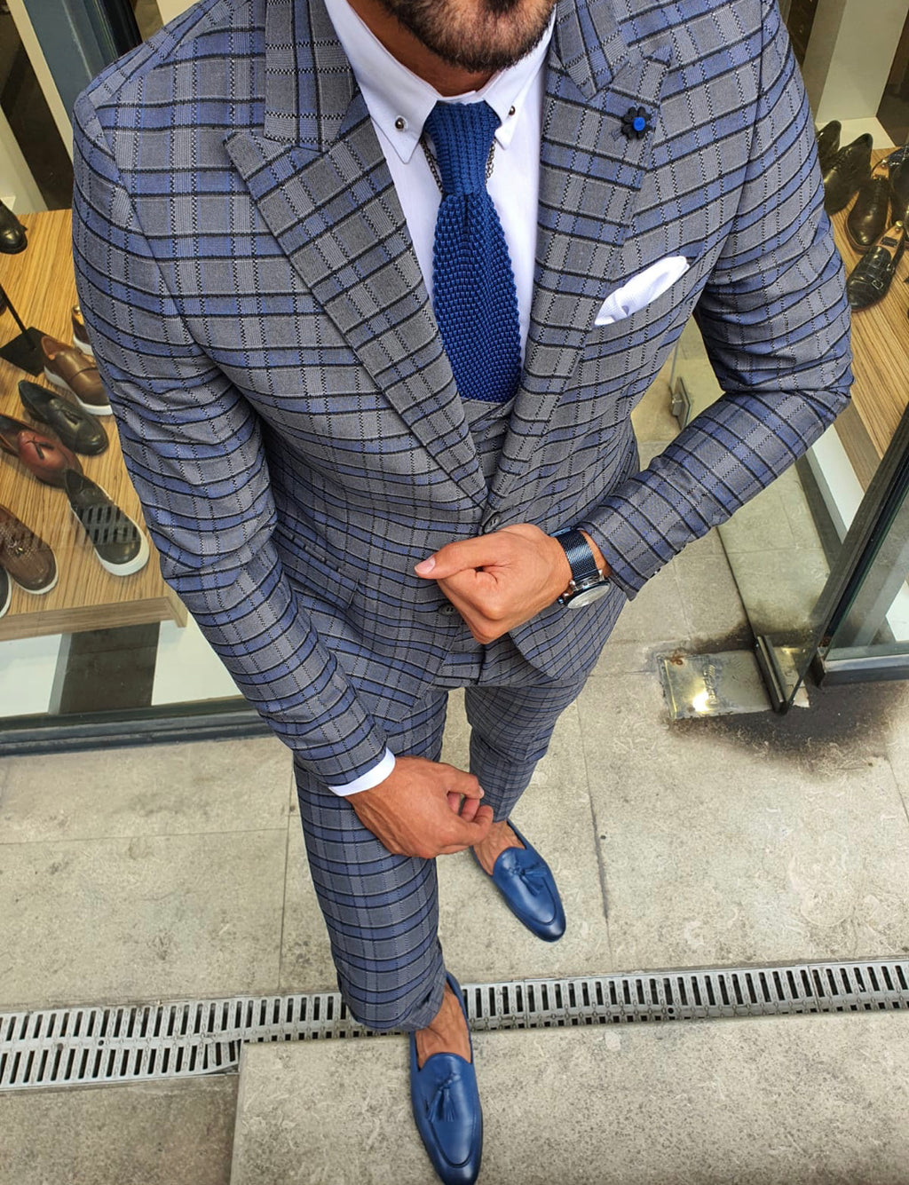 Tommy Gray Slim Fit Plaid Suit