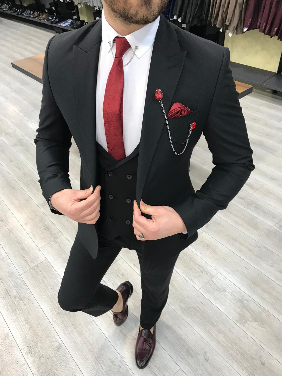 Louis Slim Fit Black Crystal  Suit