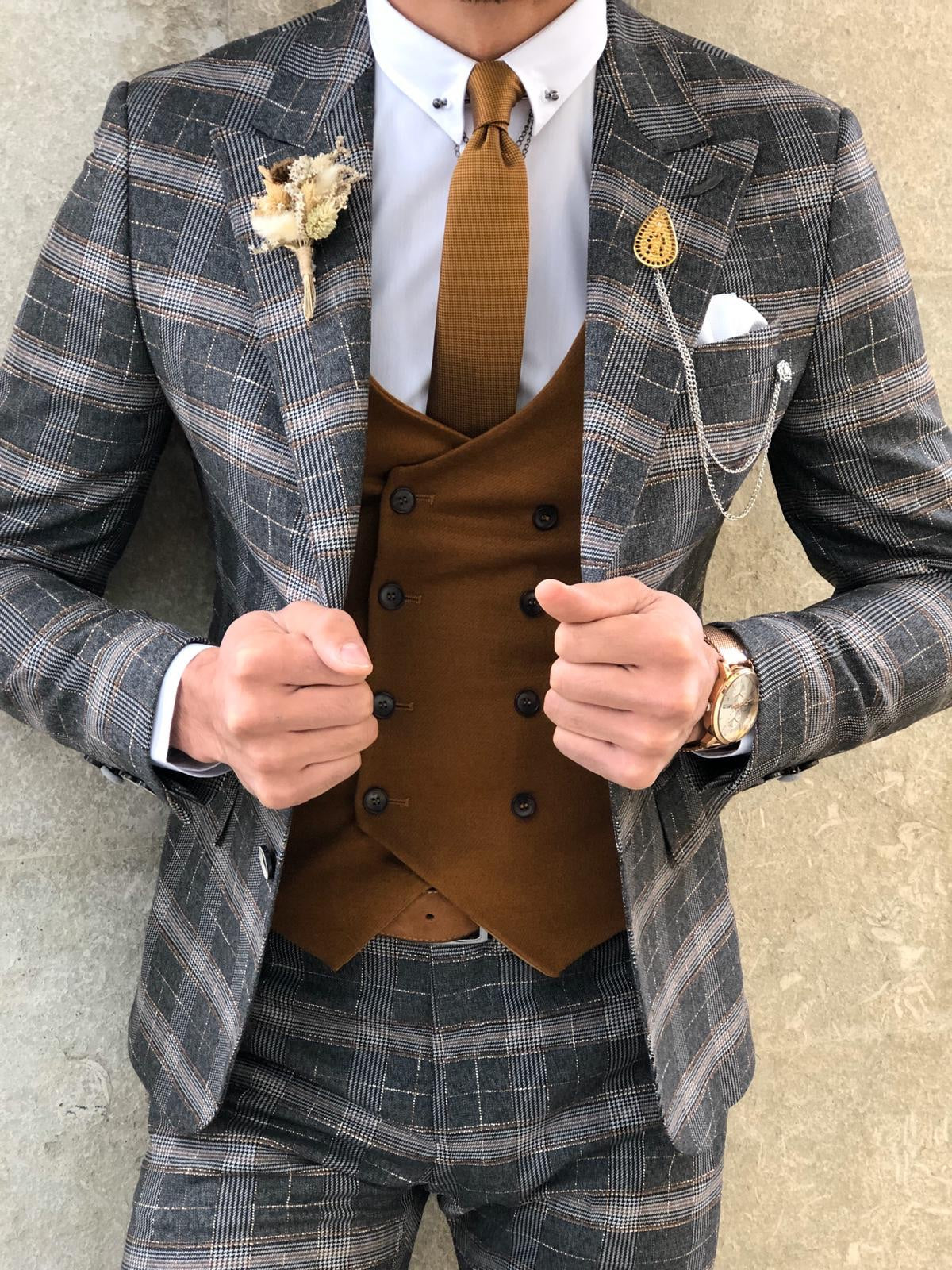 Slim-Fit Plaid Suit Vest Camel & Black