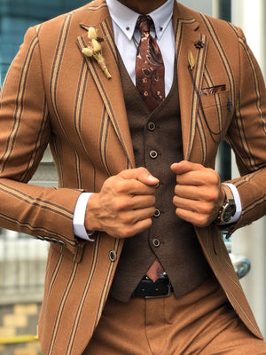 Slim-Fit Striped Suit Vest Camel