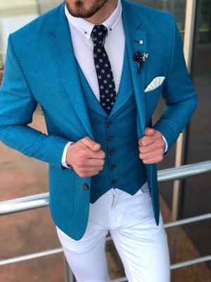 Multi Slim-Fit  Suit Vest Blue