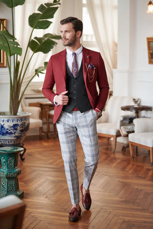 Slim-Fit Suit Vest Claret red
