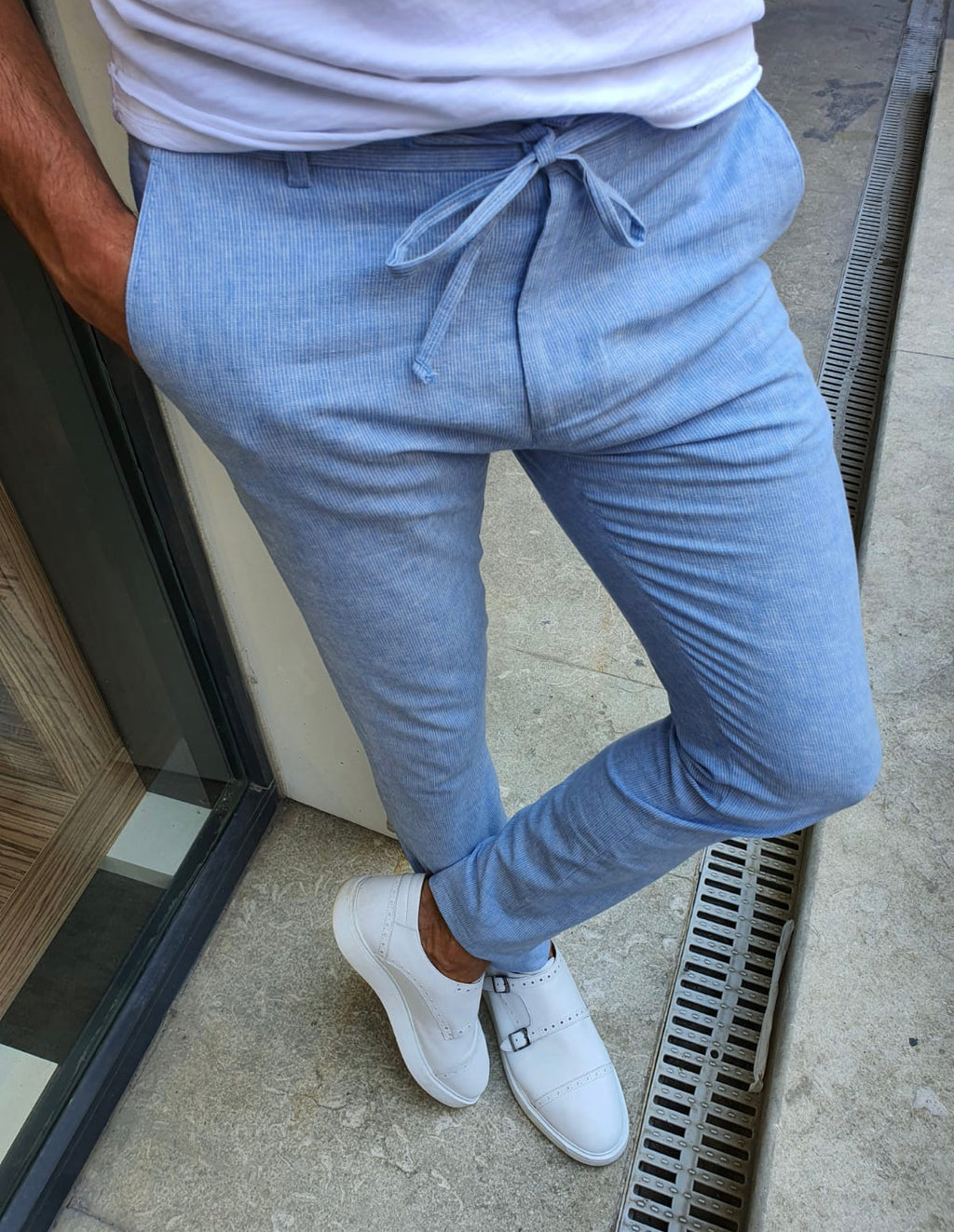 Mulen Blue Slim Fit Laced Striped Pants