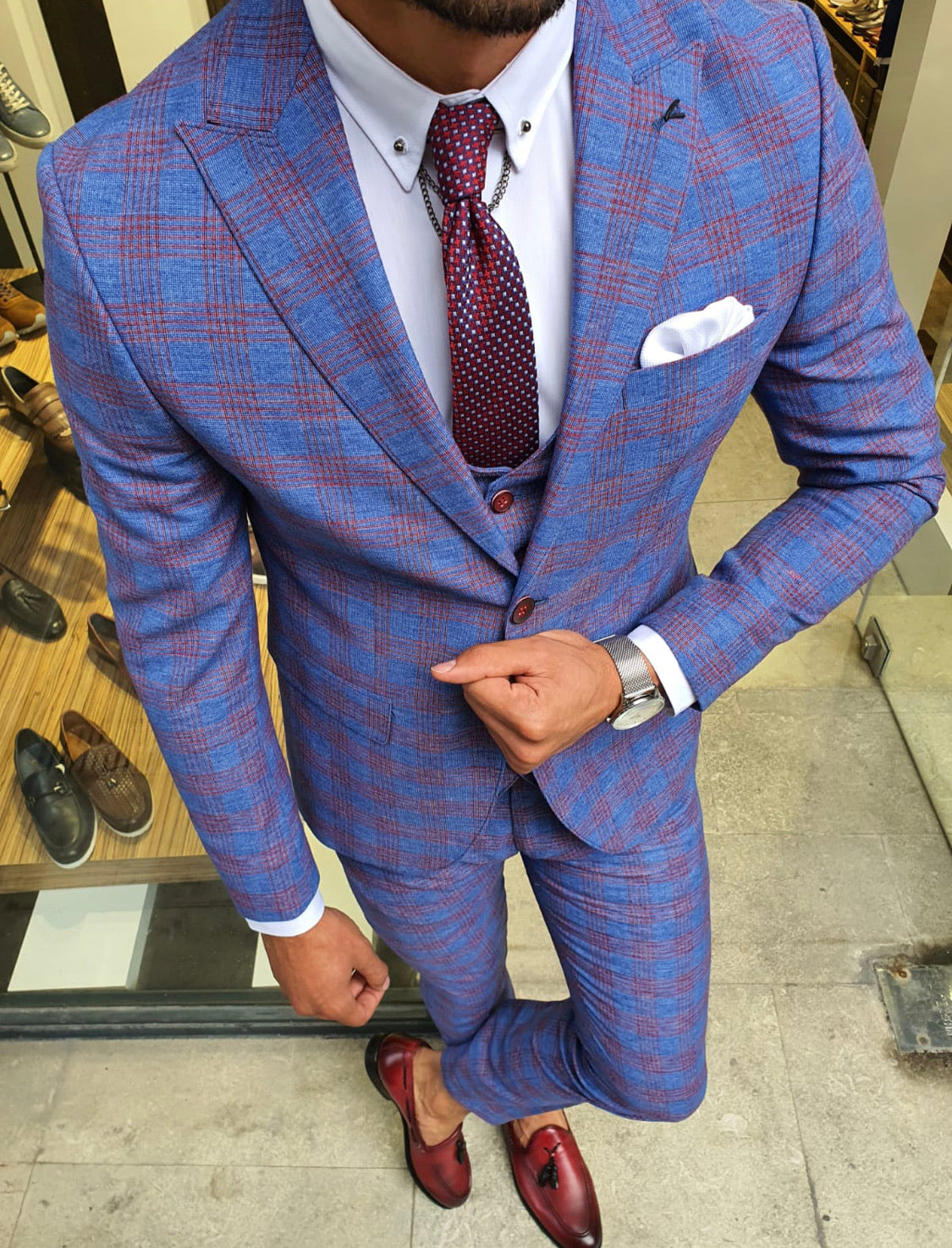 Midvale Sax Slim Fit Plaid Suit