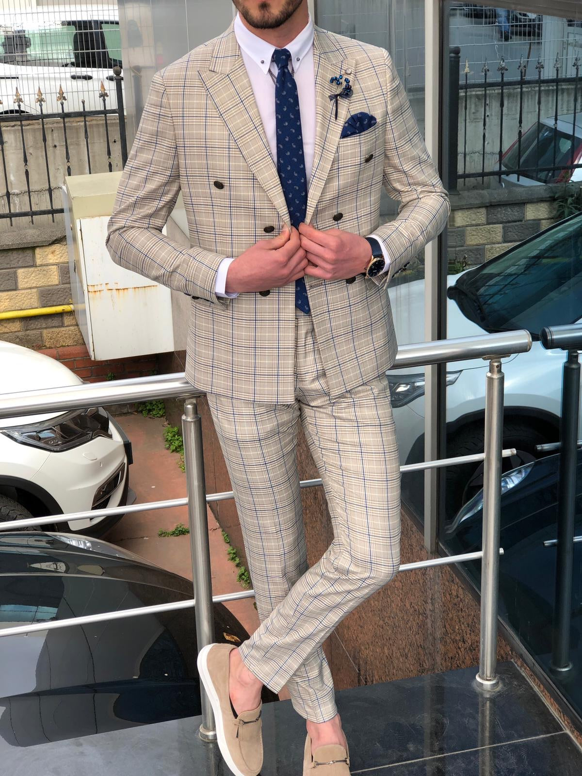 Slim-Fit Plaid Double Breasted Suit Beige