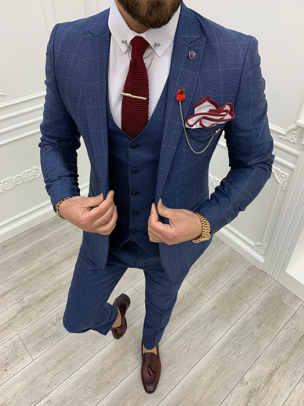 Casatani Blue Slim Fit Plaid Suit