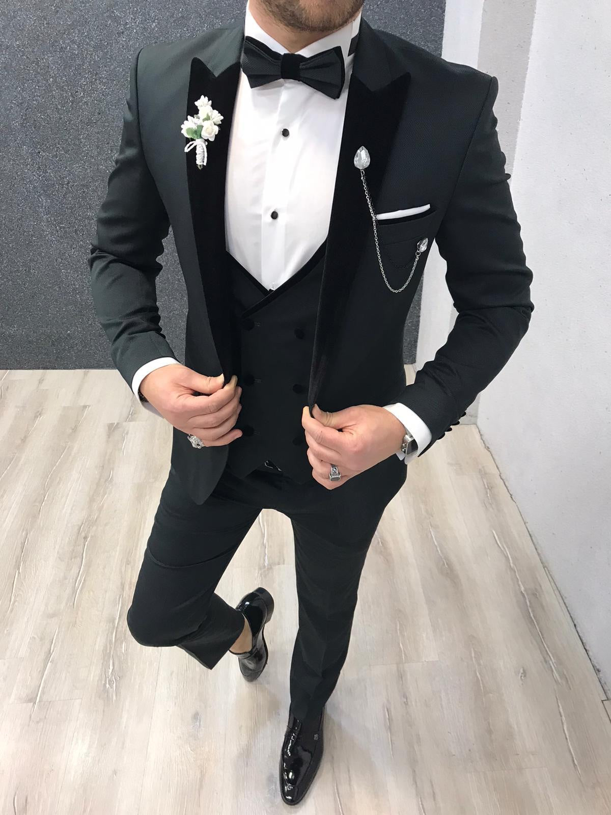 Napoli Dark Green Slim Fit  Tuxedo
