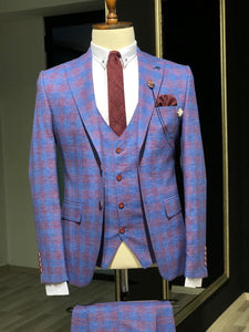 Folndess Slim-Fit Plaid Suit Vest Sax