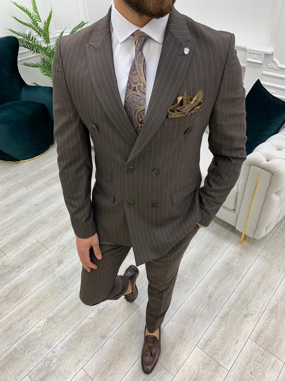 Furino Coffee Slim Fit Double Breasted Pinstripe Suit