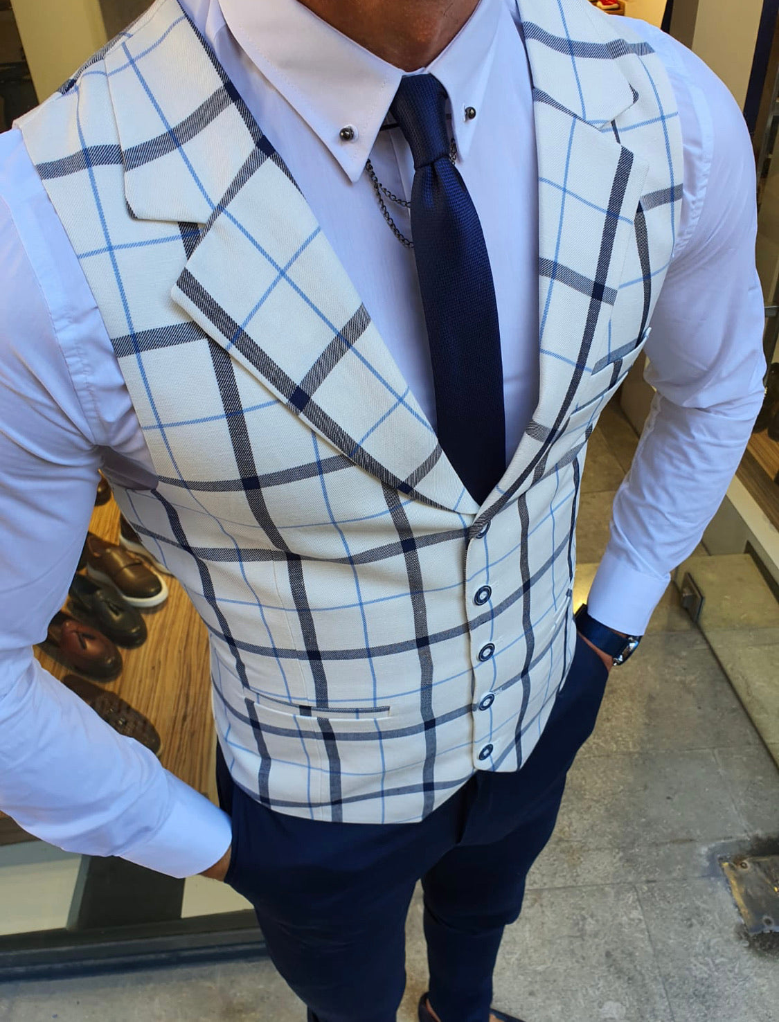 Malacan White Slim Fit Plaid Vest