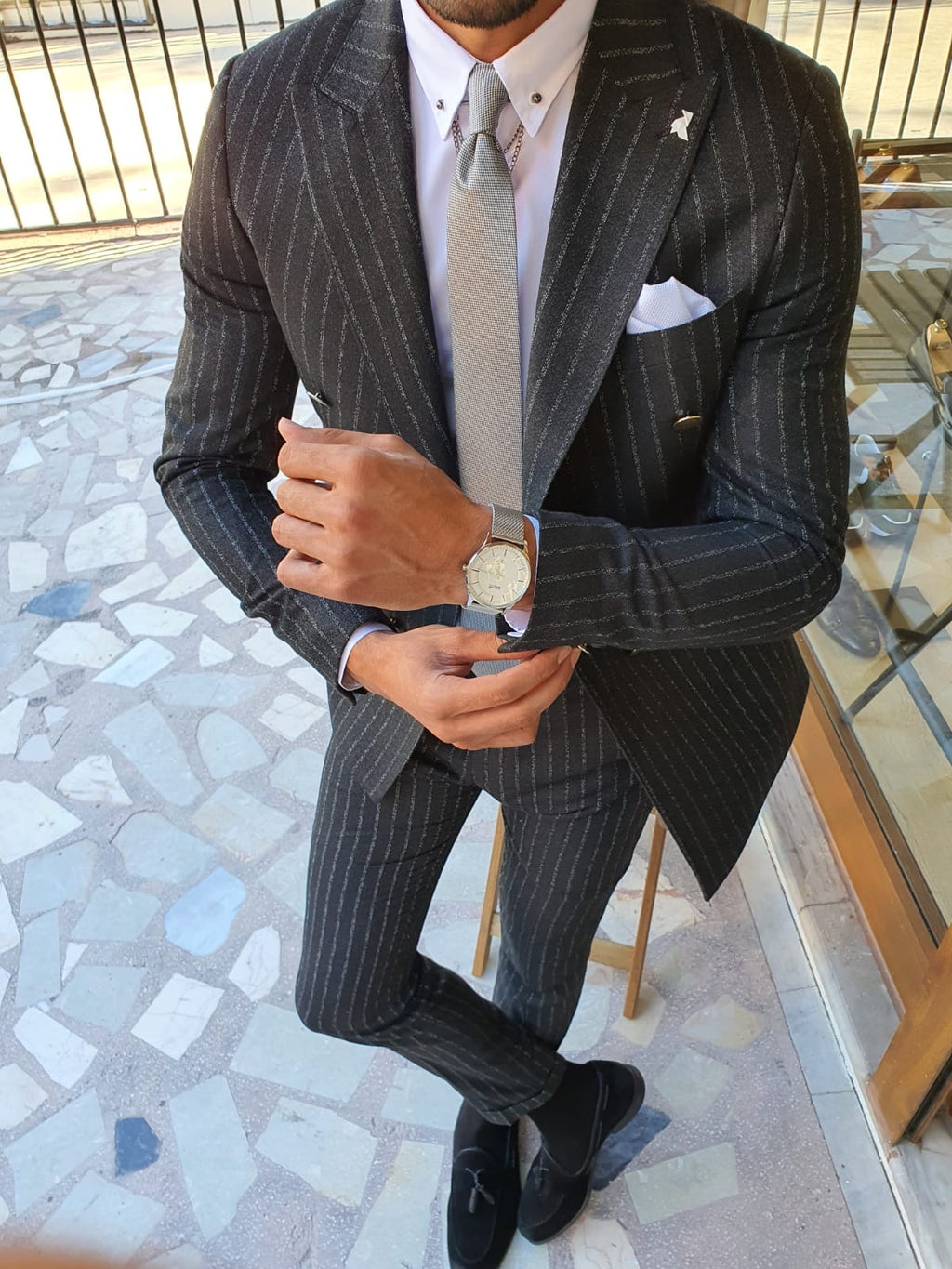 Giotto Black Slim Fit Pinstripe Double Breasted Suit