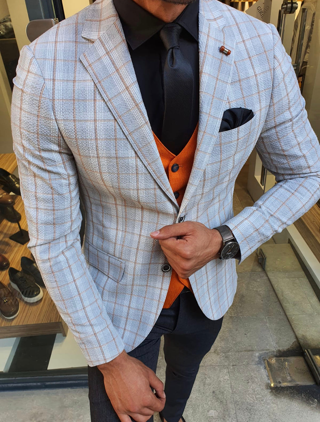 Ardenza Gray Slim Fit Plaid Suit