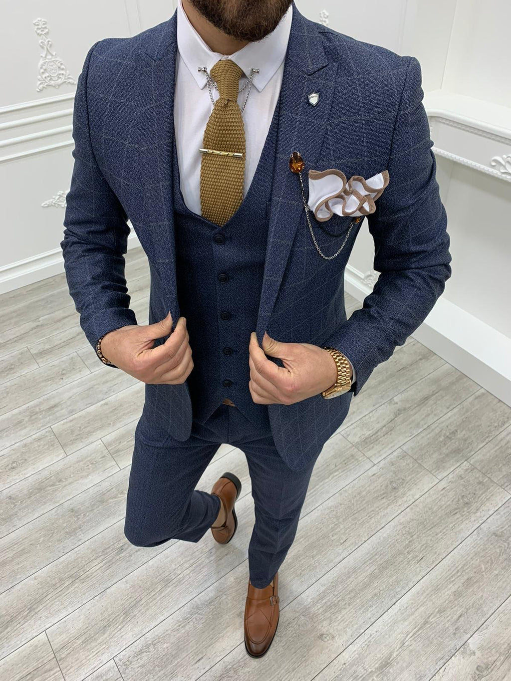 Casatani Navy Blue Slim Fit Plaid Suit