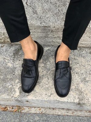 Stanoss Black Buckle Shoes