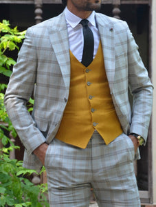 New Bern Camel Slim Fit Plaid Suit