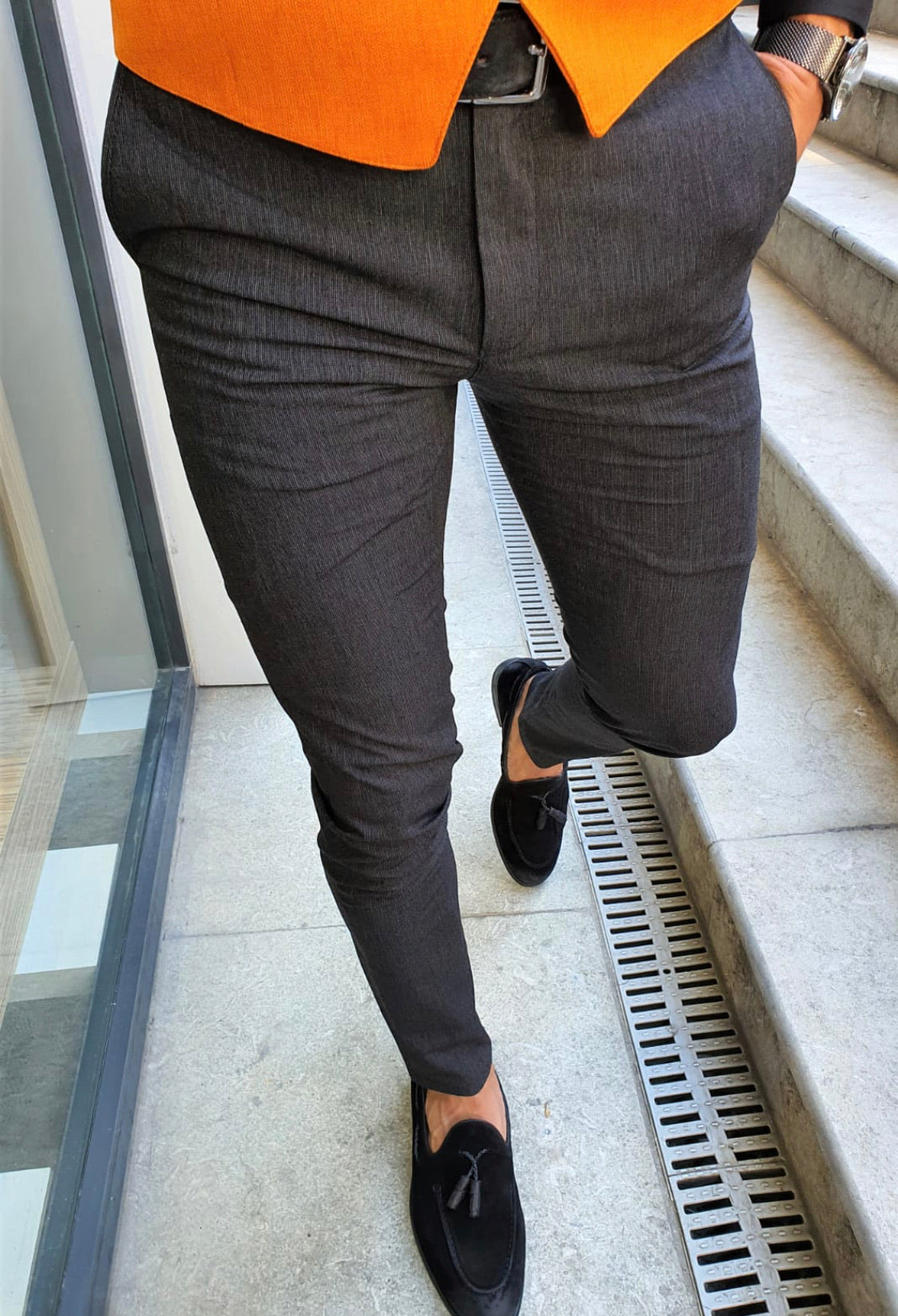 Ardenza Black Slim Fit Cotton Pants