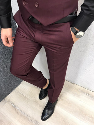 Olympia Claret Red  Slim Fit  Suit