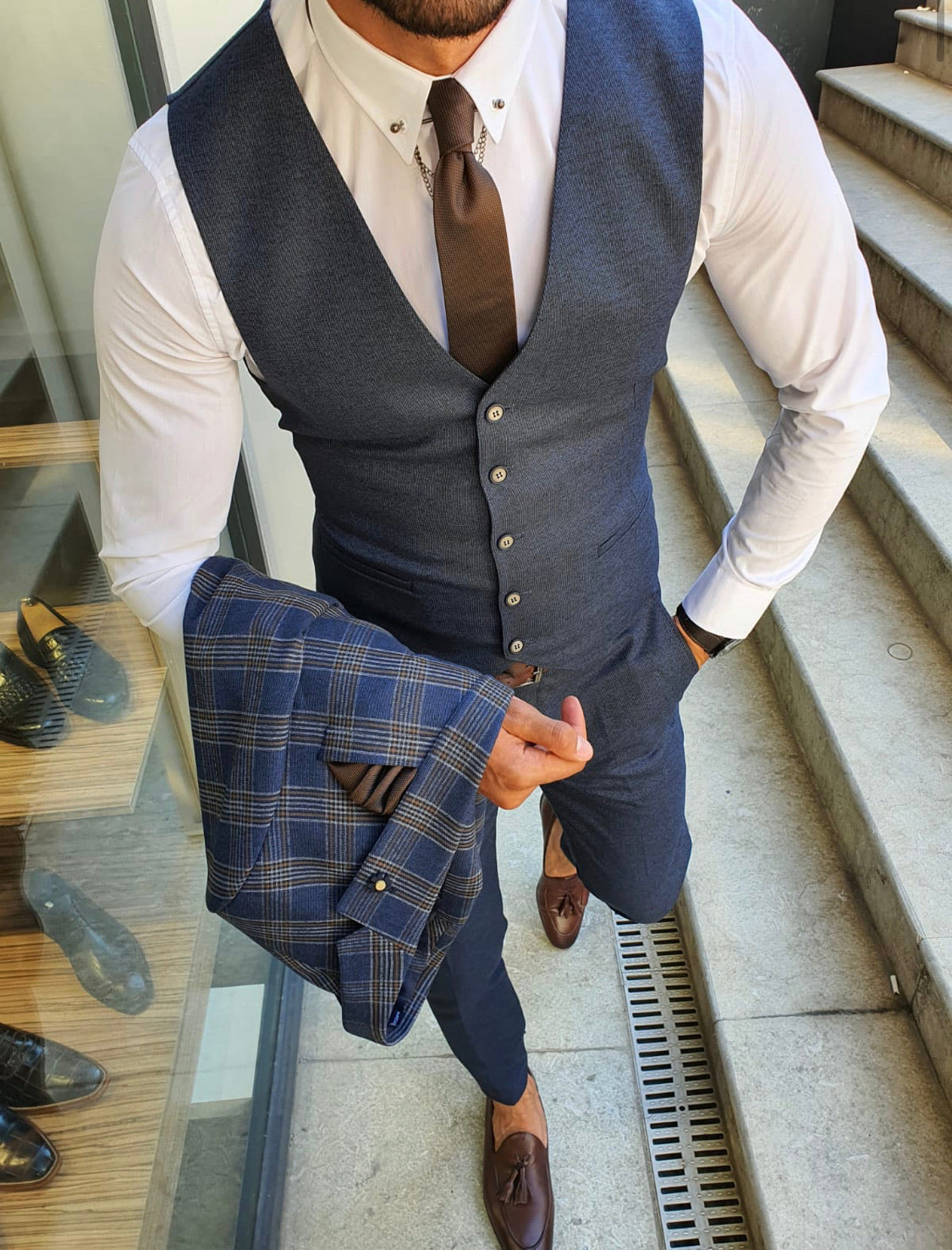 Henderson Navy Blue Slim Fit Plaid Suit