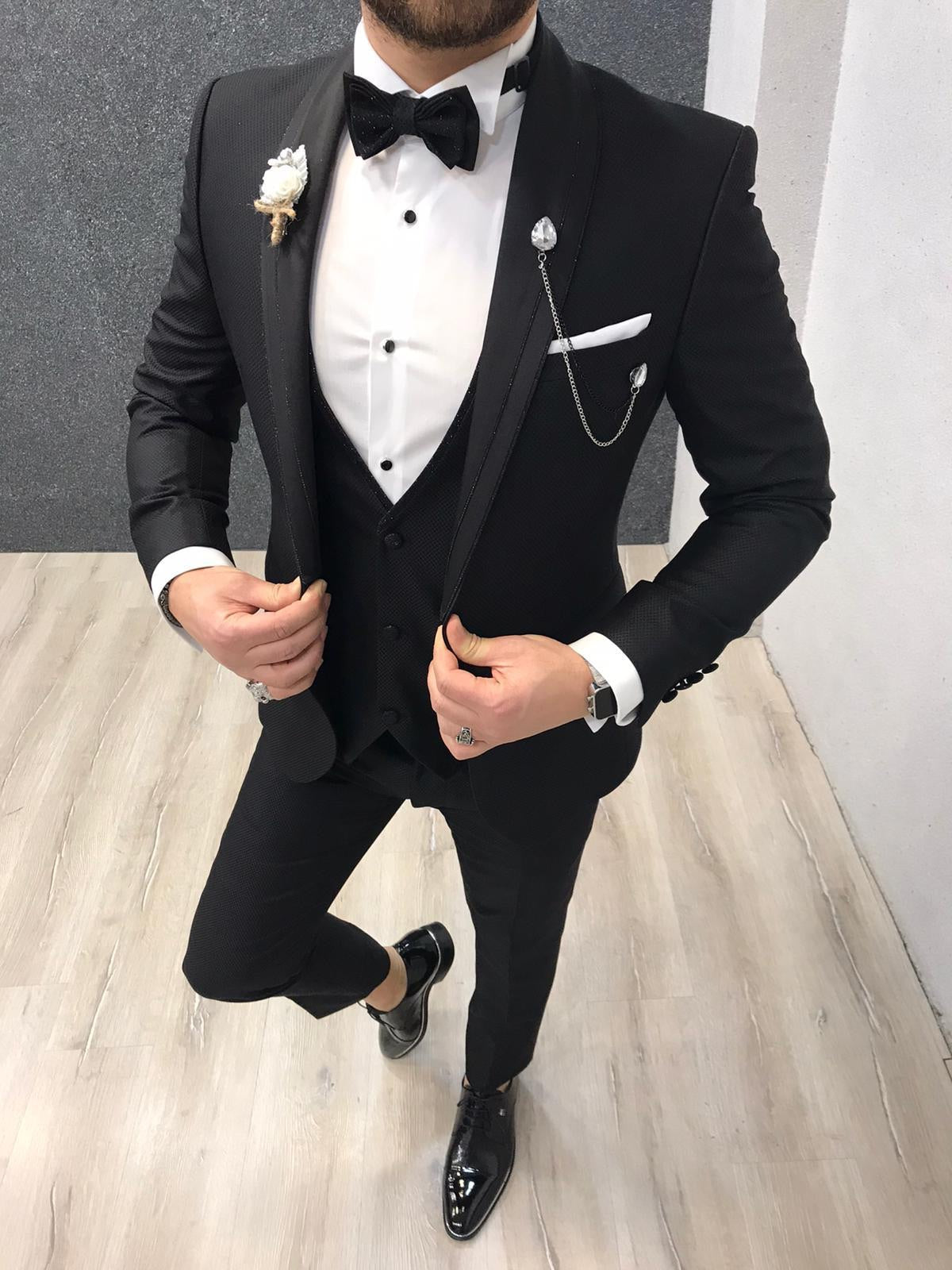 Nova Slim Fit Diamond  Black Tuxedo