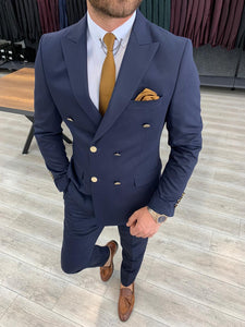 Crystal Double Breasted Navy Blue Suit