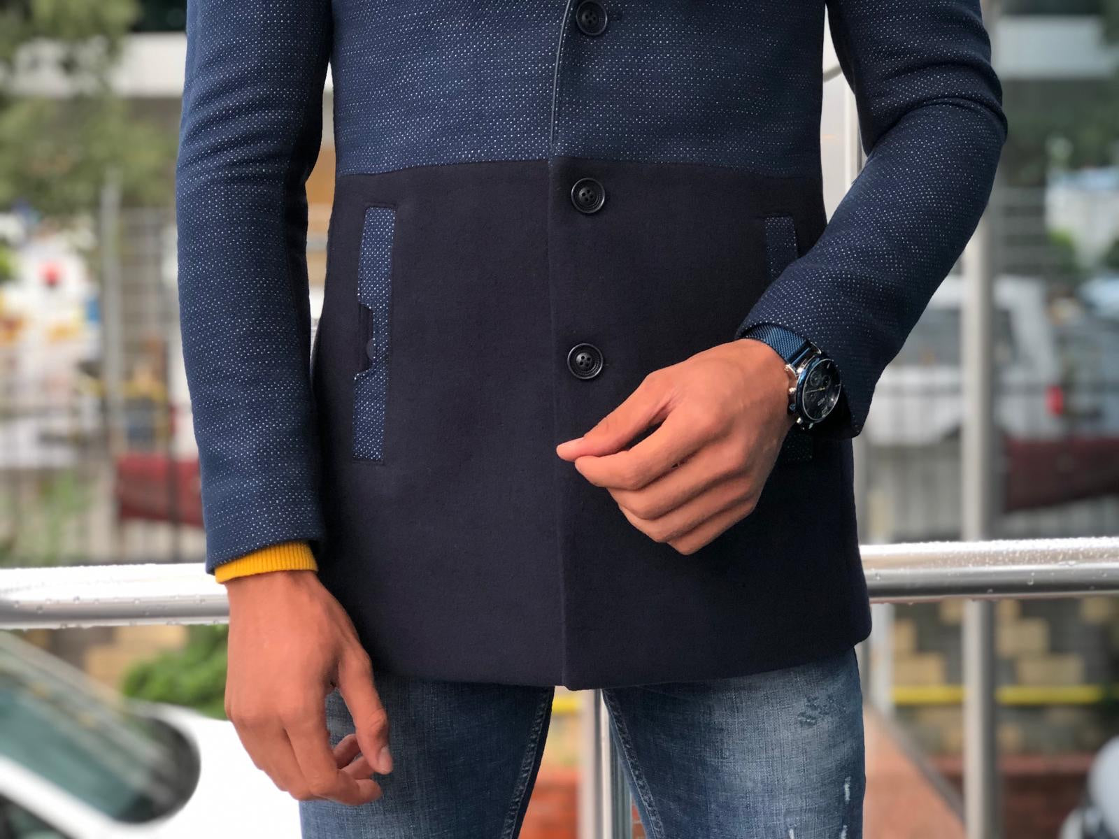 Leso Slim-Fit Coat Navy Blue