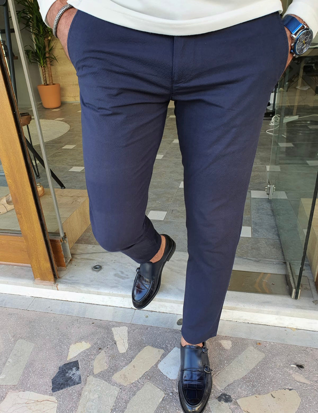Vicenza Navy Blue Slim Fit Cotton Pants