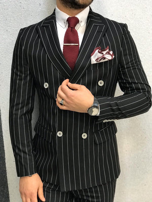 Louis Slim Fit Double Breasted Black Suit