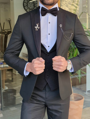 Caparini Black Slim Fit Peak Lapel Tuxedo