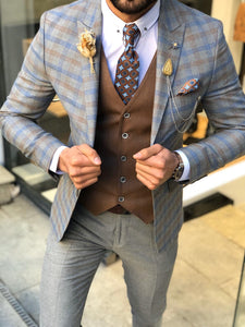 Macr Slim-Fit Plaid Suit Vest Camel