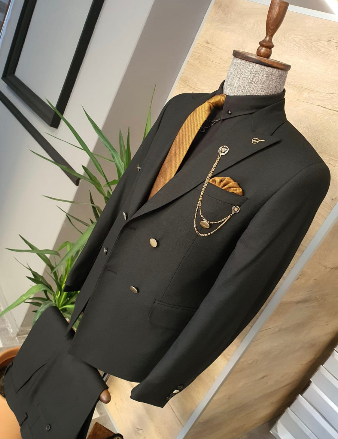 Garuzo Black Slim Fit Double Breasted Suit