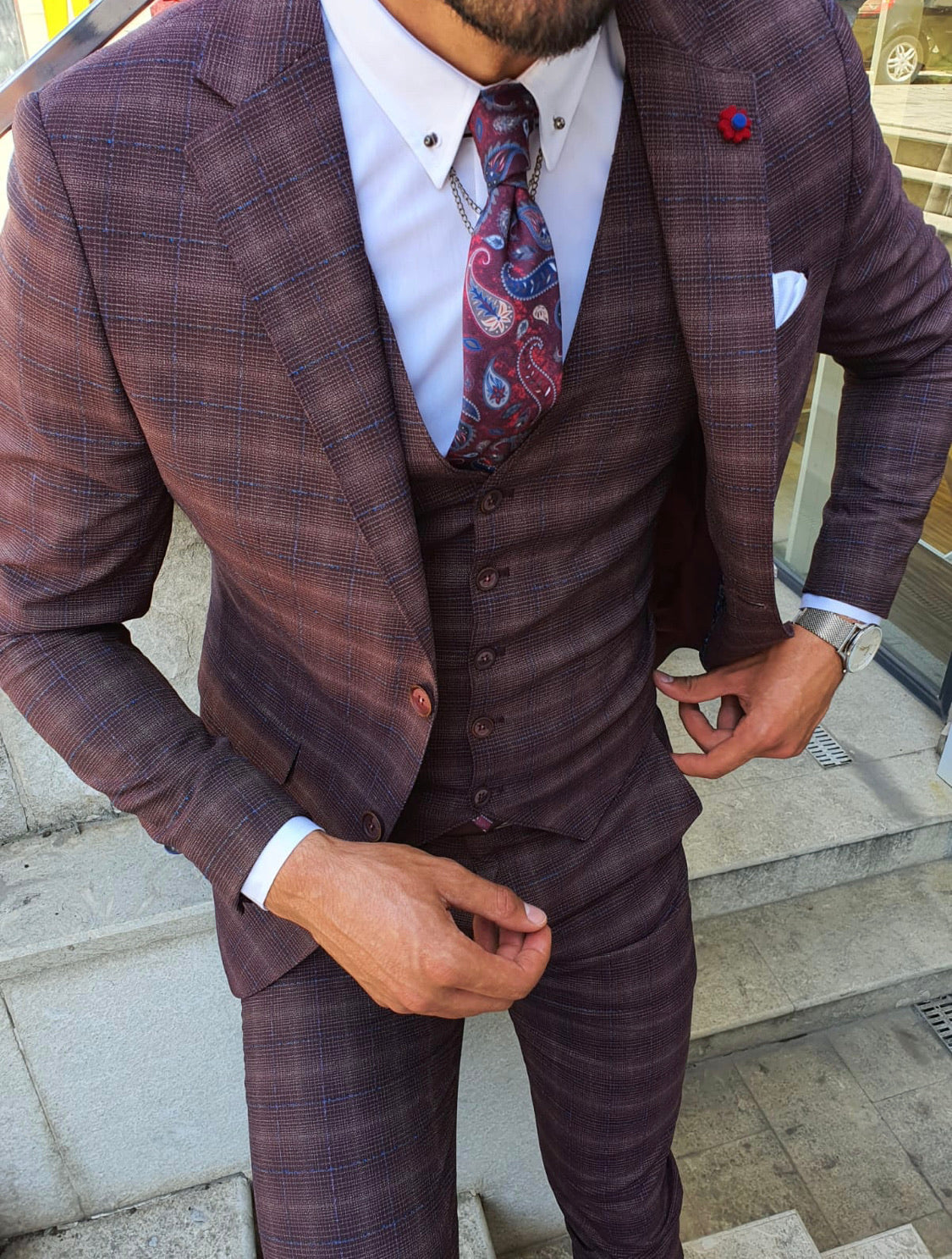 Orem Burgundy Slim Fit Plaid Suit