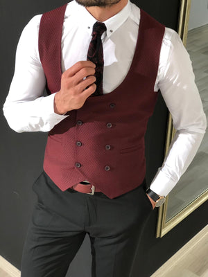 Slim-Fit Double  Breasted Vest Claretred