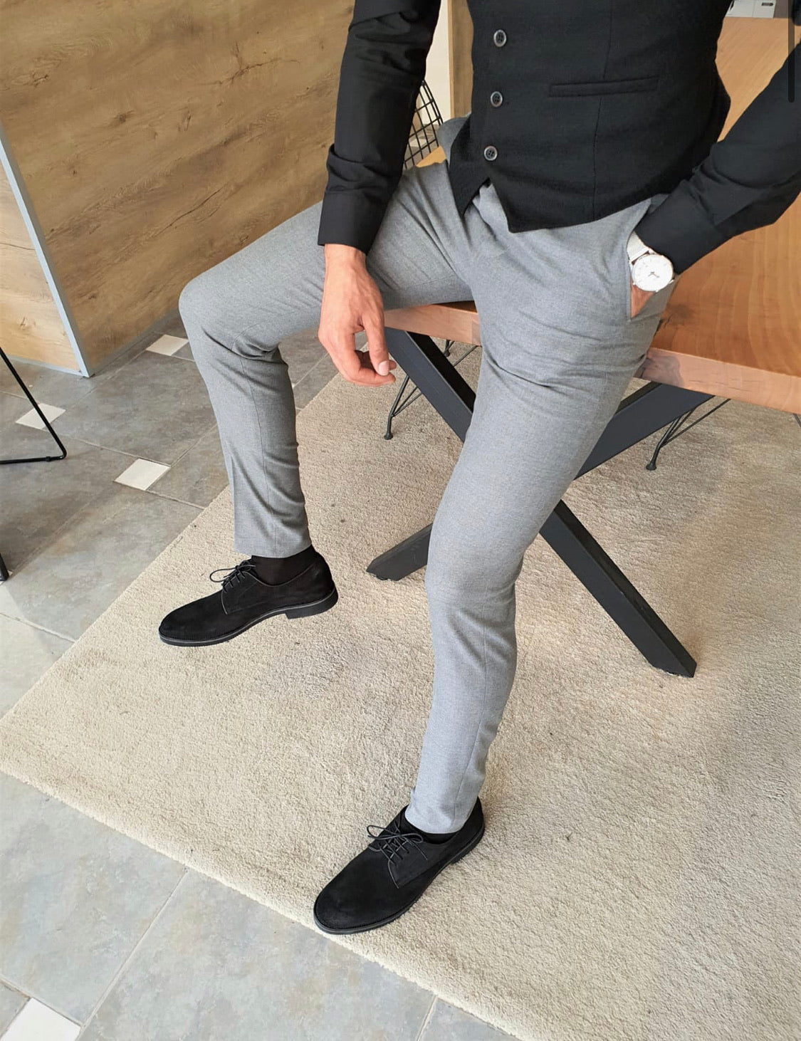 Garuzo Gray Slim Fit Pants