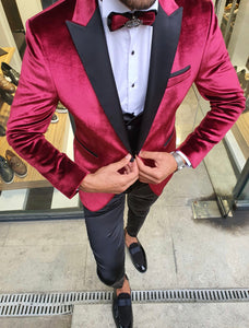 Nocelli Red Slim Fit Peak Lapel Velvet Tuxedo