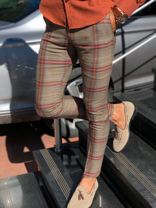 Petic Slim-Fit Plaid Pants Beige