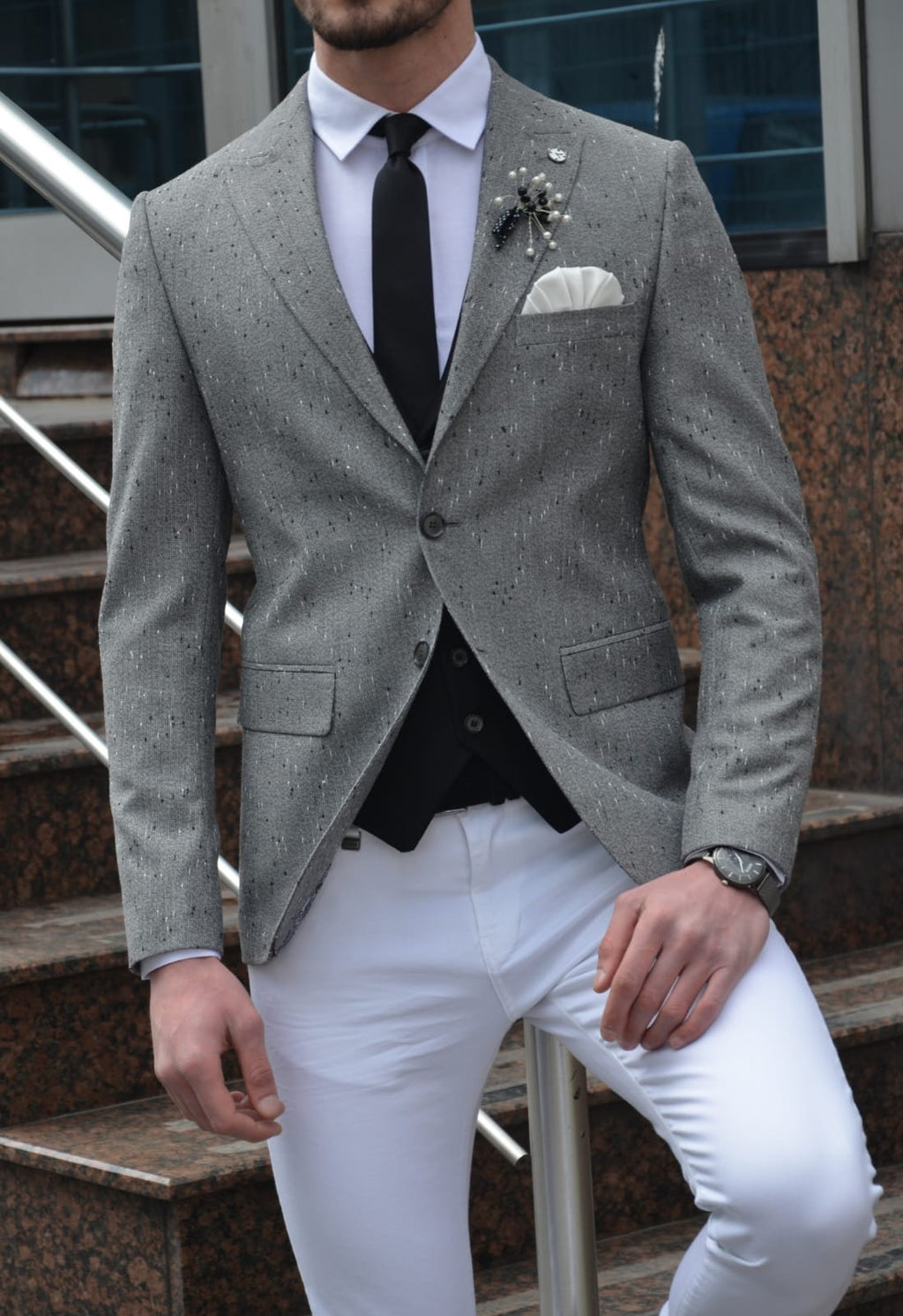 Zengi Slim-Fit Cotton Blazer in Gray